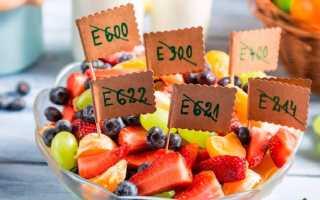 Коды пищевых добавок таблица